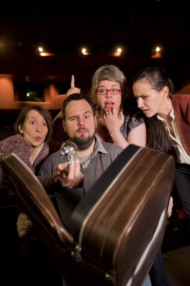 Playwright Fionnuala Kennedy promoting Accidental Theatre's play Fast & Loose, which ran in the Lyric with (from left) Emily DeDakis (project dramaturg), Richard Lavery (artistic director), and Andrea Montgomery (writer)
