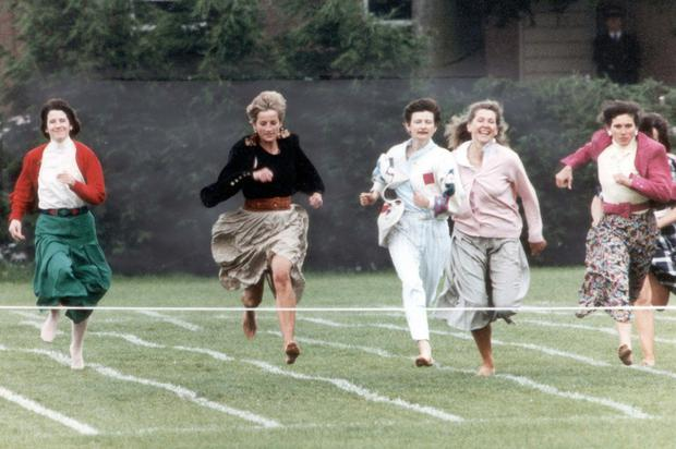 Princess Diana competing in the mothers' race in 1991 at Harry's school sport's day