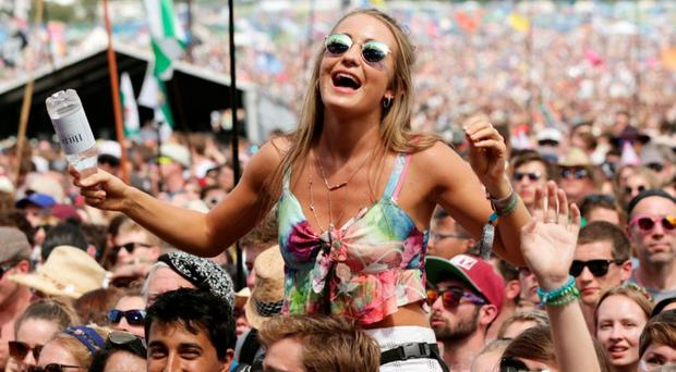 Festive fun: Glastonbury crowds