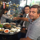 John Torode dines with friends on his new Good Food TV show John Torode's Korean Food Tour.