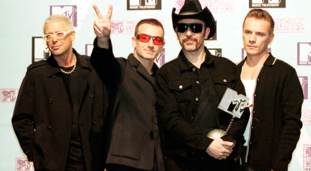 Stage show: U2 picking up an MTV award in their earlier days