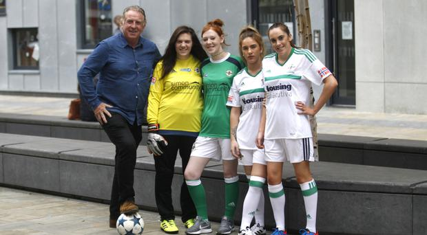 Top team: former Northern Ireland footballer Gerry Armstrong with footballers from the NI homeless team (left to right) Ashley Young, Tracy Patterson, Phoebe Clawson and Catriona Sheehan