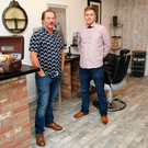 Dean McIlwaine's father Rod and brother Glen at Dean Samuel's barber shop