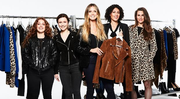 New season: Heidi Klum with models showing off her first Lidl collection