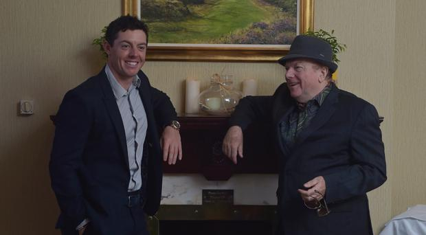Great talents: Rory McIlroy and Van Morrison at the Slieve Donard Hotel during the Irish Open at Royal County Down Golf Club