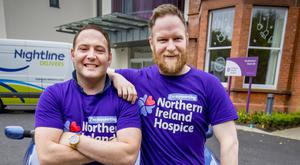 Roy Lucas (left) and friend Peter Davies at the NI Hospice with their Ford Ka