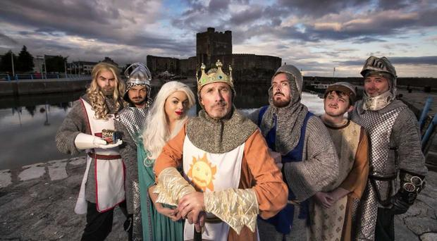 Ciara Mackey (third left) and Paddy McGennity (third right) with the Spamalot cast