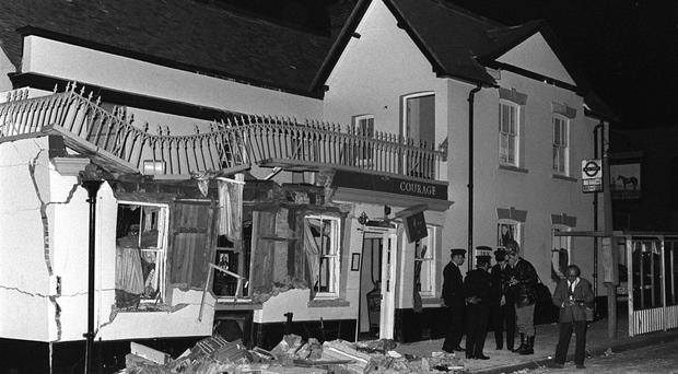 Murder scene: the Horse and Groom pub in Guildford after the IRA bomb