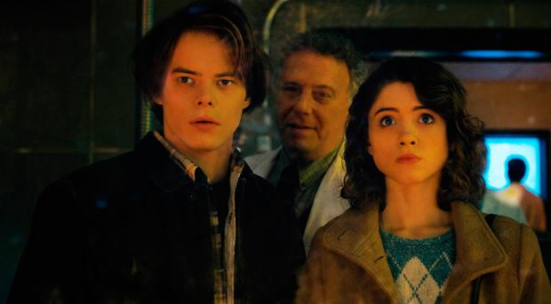 Stranger returns: Charlie Heaton, Paul Reiser and Natalia Dyer in Stranger Things