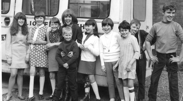 Heather Scott (second from left) when she was younger at the polio bus