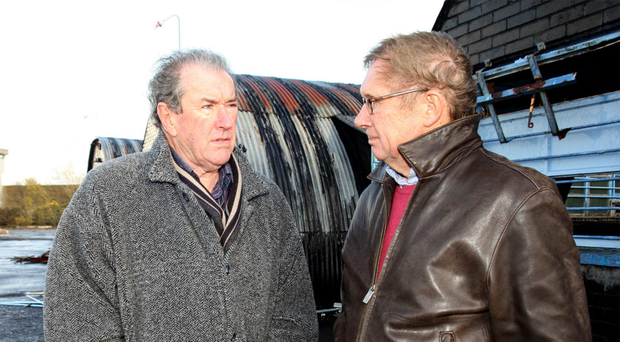 Denis Tuohy (left) chats to Peter Taylor at the old Maze prison
