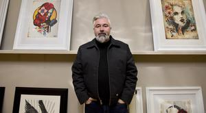 Fine art: Terry at his studio in Bangor with some of his work