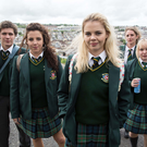 Jamie-Lee with with cast members (from left) Dylan Llewellyn (James Maguire), Saoirse Monica Jackson (Erin Quinn), Louisa Harland (Orla McCool) and Nicola Coughlan (Clare Devlin)