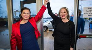 New leaders: Sinn Fein's deputy president Mary Lou McDonald TD and Leader in the North Michelle O'Neill in Belfast