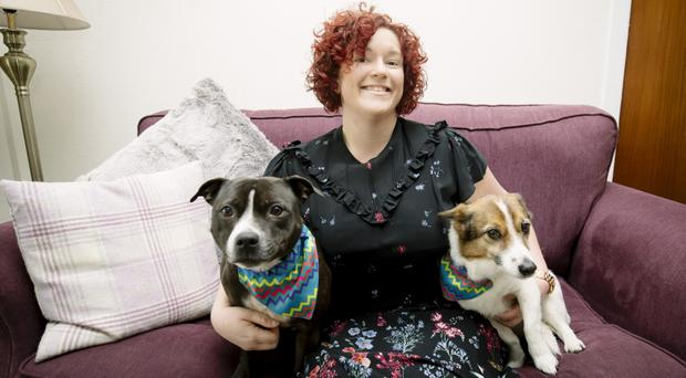 Canine pals: Bekki Millar with Mia and Honey
