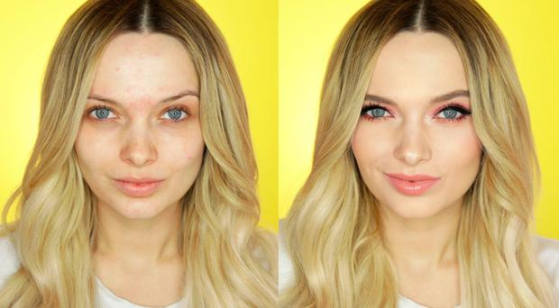 Total transformation: Em Ford before and after putting make-up on