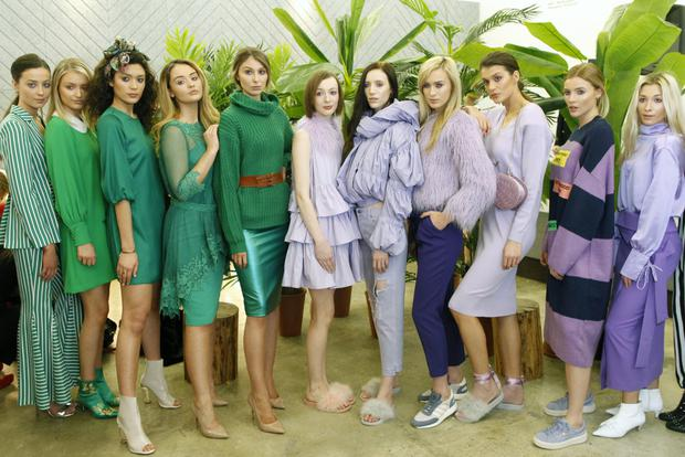 Models in this season's colours of green and lilac launch Belfast FashionWeek