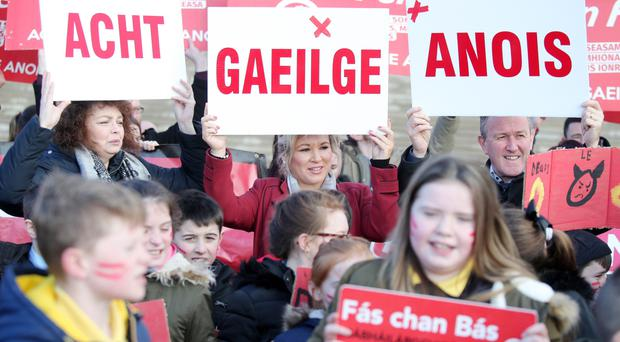 Acting up: Irish language protest at Stormont with (from left) Caral Ni Chuilin, Michelle O'Neill and Conor Murphy