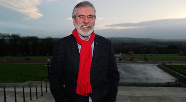 Looking back: Sinn Fein president Gerry Adams, pictured at Parliament Buildings, Stormont, insists he does not care how he's judged by history