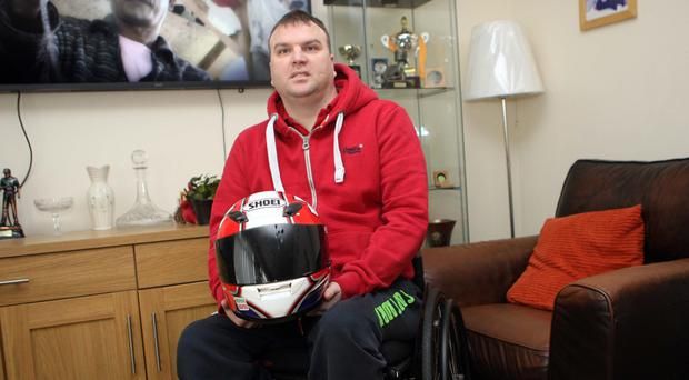 Former road racer William Cowden who was paralysed in a crash in 2014