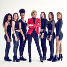 Catwalk queen: Yolanda Hadid (centre) with the cast of Making a Model