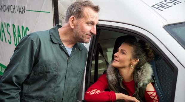 Big break: Kerri Quinn as Brenna and Christopher Eccleston as Greg