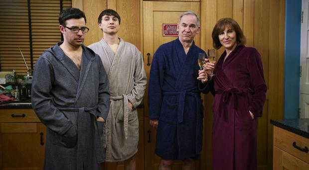 Brothers in arms: Simon Bird and Tom Rosenthal with Paul Ritter and Tamsin Greig in Friday Night Dinner
