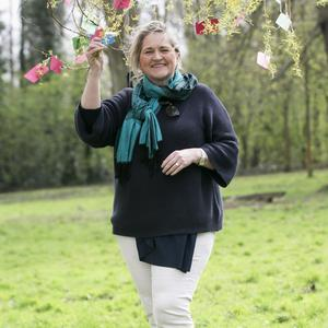 Hopeful messages: Maria McManus with the small works of art