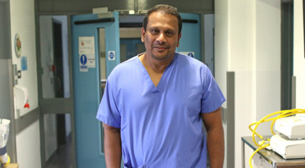Dr Sunil Paulraj at his work in the Royal Victoria hospital intensive care unit at the neonatal ward