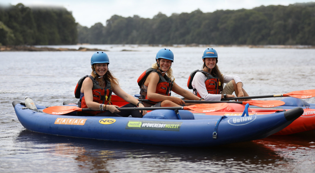 All aboard: Pip Stewart, Ness Knight and Laura Bingham in their canoes