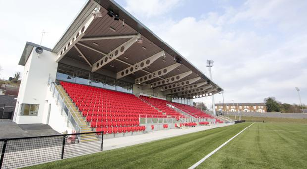 The new stand at the redeveloped Brandywell, home of neighbours Derry City