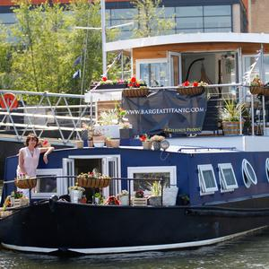 Gillian Campbell, owner and designer of the barge that has been renovated into a luxury apartment