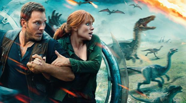 Taking flight: Chris Pratt and Bryce Dallas Howard are back in the Jurassic World