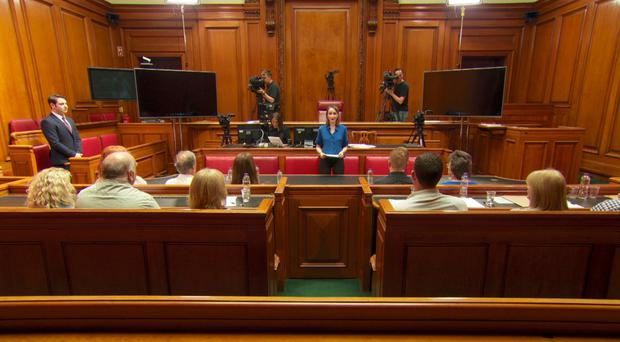 Reporter Lyndsey Telford in the fictionalised courtroom