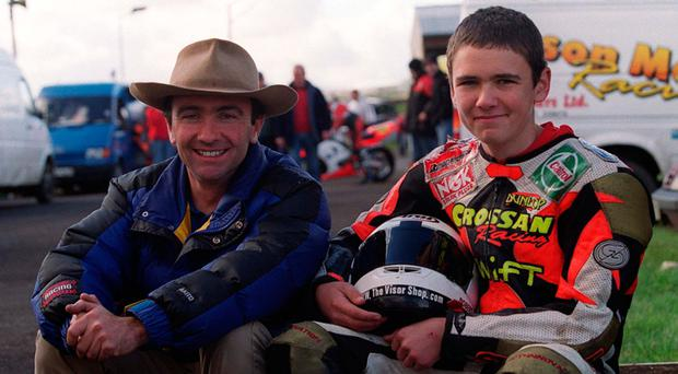 Robert Dunlop with his son, William aged 16. William rode his Dad's 125cc Honda for his first taste of racing at Aghadowey