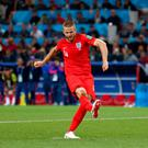 Spot on: Eric Dier scores England's fourth and decisive penalty in their thrilling shootout win over Colombia in the last 16 of the World Cup