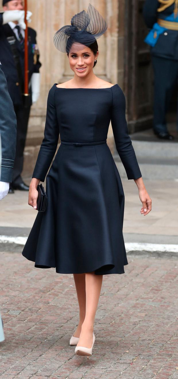 Meghan leaving a service at Westminster Abbey to mark the centenary of the Royal Air Force