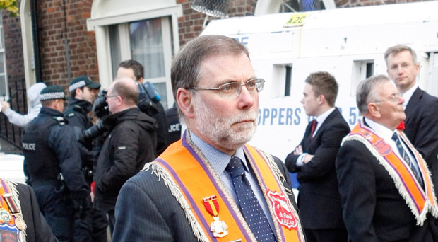Nelson McCausland on the march as a long-standing member of the Orange Order