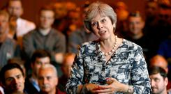 Stalling for time: Theresa May has been touring around the UK