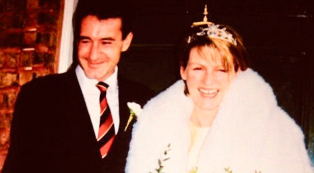 Happier times: Colin Brazier with wife Jo on their wedding day