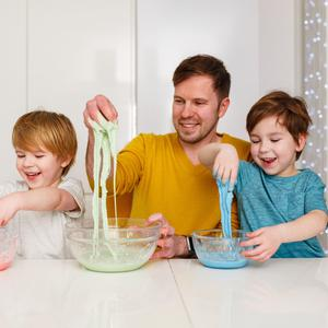 Messy fun: Sergei Urban with his sons
