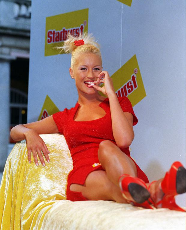 Denise Van Outen officially unwrapping Opal Fruits' new name Starburst in 1998