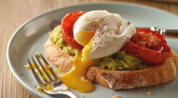 Organic poached eggs, tomatoes and smashed avocado