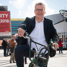Pedal power: Tom Watson arrives at Labour's annual conference in Liverpool this week