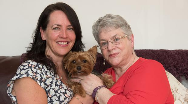 Positive outlook: Ena Kerr (right) with her daughter Lynda Meenan and dog Daisy