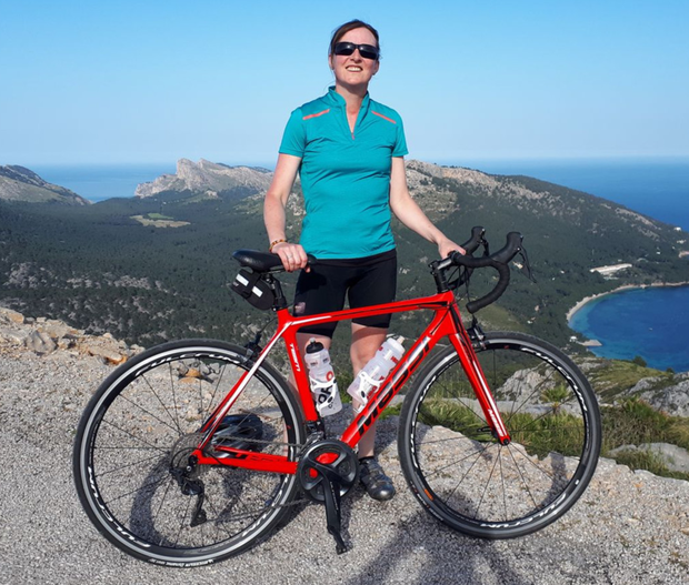 Deborah cycling in Majorca