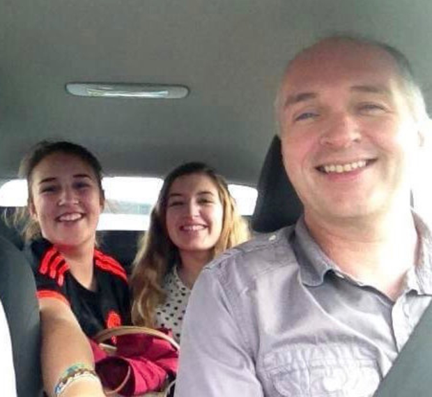 Happy family: Stephen Heaney with his daughters Victoria and Rebecca