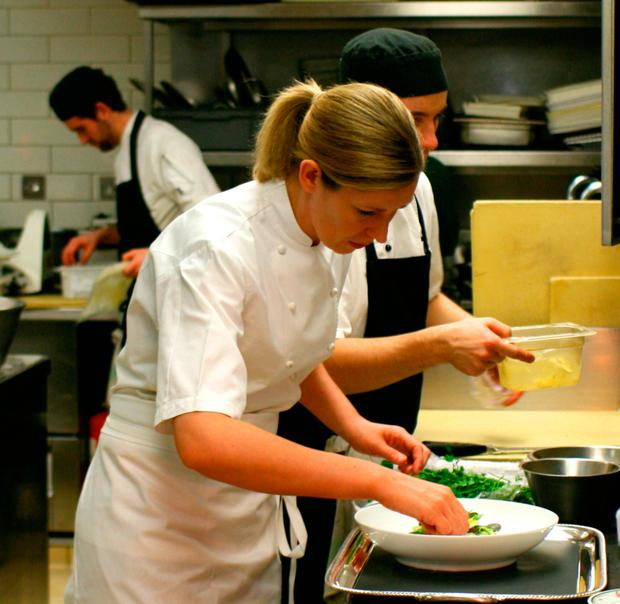 Clare working in the kitchen