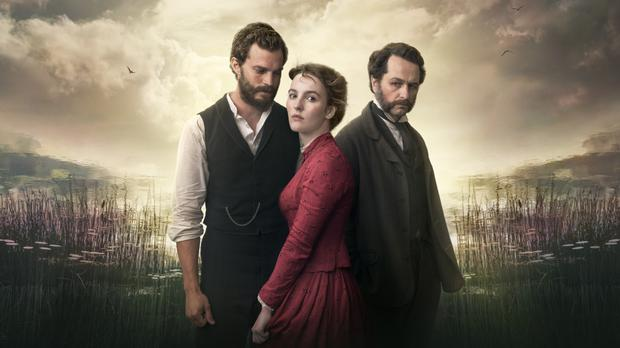 Jamie Dornan as Liam Ward in new BBC drama Death and Nightingales where he stars opposite Ann Skelly as Beth Winters and Matthew Rhys who plays Billy Winters