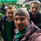Friendly visit: Mark Dobson with his grandfather and cousin at the Northern Ireland game in Dublin